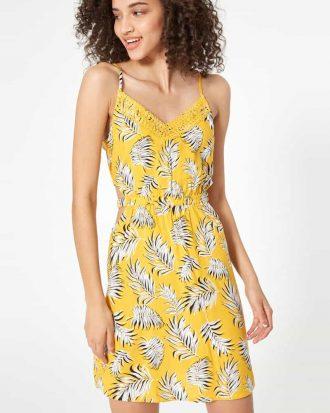 JENNYFER - robe - avec - ouvertures - côtés jaune