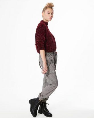 JENNYFER - Pantalon cargo prince de galles - Gris