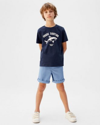 MANGO - T-Shirt Tiburon - Bleu Marine