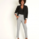 MAISON 123 - Pantalon cigarette pied de poule lara - Noir/Blanc
