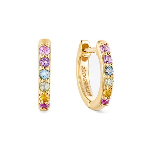 A.CONSTANT - Boucles d'oreilles or jaune 18 carats et pierres multicolores