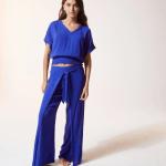 ETAM - Pantalon détail noeud - Bleu