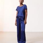 ETAM - Pantalon de pyjama satiné à  nouer - Bleu