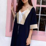 KAFTANS - kimono Vert / Dorée Dalia - Bleu marine