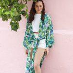 KAFTANS - kimono Kim - Vert & Blanc