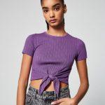 JENNYFER - Pull côtelé avec noeud - Violet