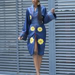 SARAYAA - Manteau kimono patch - Bleu